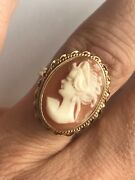 Antique / Vintage 50andrsquos 60andrsquos 14k Gold Small Cameo Cocktail Ring Size Any Finger