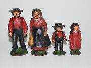 Vintage Set Of 4 Amish Family Cast Iron Figures Highly Collectible