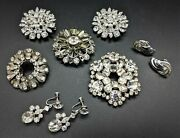 Vintage Rhinestone Costume Jewelry Lot Of 5 Brooches And 2 Screw Back Earring Sets