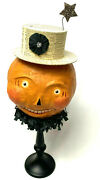 Nicol Sayre Halloween Jack O Lantern Head Candy Container Top Hat Midwest