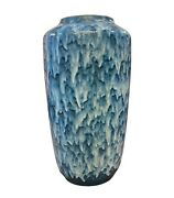 Unusual Huge Scheurich Blue And White Fat Lava Ceramic German Vase About 1970
