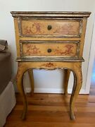 Antique Pair Of Italianate Side Tables In Hand Painted Venetian Chinoiserie