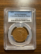 1853-p Braided Hair Large Cent 1c Pcgs Genuine Corrosion Removed Au Detail