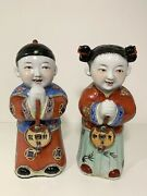 Vintage Chinese Ceramic Pottery Figurines Couple Good Luck Prosperity