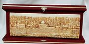 The Holy City/temple Jerusalem In Red Velvet Display Box 14 X 7