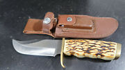 Schrade Fixed Blade 171uh Hunting Knife With Sharpening Stone Sheath
