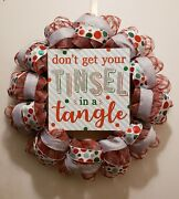 Tangled In The Tinsel Christmas Wreath - Mesh And Ribbon- Hand Crafted