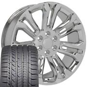 22 Inch Chrome 5666 Rims And Goodyear Tires Set Fit Chevy Silverado Tahoe Suburban