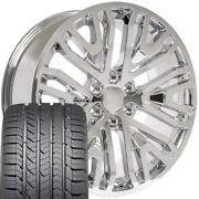 Oew 22x9 Wheels And Goodyear Tires Fit Chevy Gm Custom Chrome
