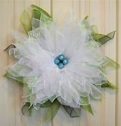 Handmade Frosted White Poinsettia Wreath Winter Christmas