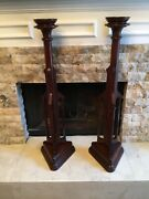 Rare Antique Cathedral Cherry Wood 3ft Floor Stand Candle Holders