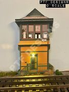 """O Scale Switch Tower Building Flat """"yellow Tower"""" Trackside Flats W/led - Mth"""