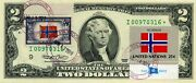 2 Dollars 2003 Star Stamp Cancel Postal Flag From Norway Lucky Money 500