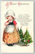 Ellen Clapsaddle Christmasmary Quite Contraryshy Lil Girldecorated Treeswolf