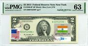 2 Dollars 2013 Star Stamp Cancel Postal Flag From India Lucky Money 3000