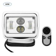 60w 6000k Led Car Remote Control Search Light Outdoor White 9-24v New