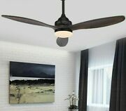 Vintage Wooden Ceiling Fan With Round Led Lights Retro Ac/dc Power Lamp 3 Blades
