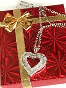 14k White Gold And 1.63 Ct Diamond Heart Necklace Ladies Women Teen