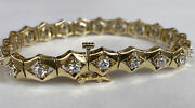 14k Yellow Gold Ladies Tennis Bracelet With Cubic Zirconia 7mm 7 Inches