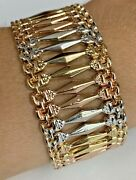 14k Tri - Color Gold Womenand039s Thick Bracelet 7 3/4inch Solid Gold 24.2g