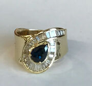 14k Fine Gold 1.5 Cts Sapphire And1.20 Cts Ladies Womenand039s Diamond Ring