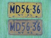 1941 New York License Plate Pair 41 Ny Tags Md56-36 Plates Medical Doctor