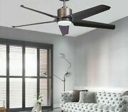 Modern Ceiling Lighting Fan 5 Plastic Rotating Blades 1320mm With Led Round Lamp