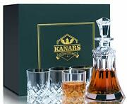 Whiskey Decanter Set 4 Glasses With Luxury Gift Box,unique Lead Free Crystal