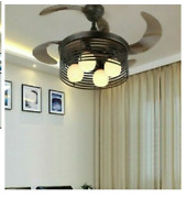 Vintage Ceiling Fan Lights Round Folding With Remote Control 2 In 1 Smart Luxury