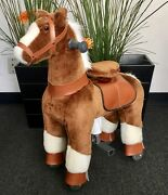 Small Giddy Up Ride Horse/pony Ride On Brown/white Ages 2-5 Boys And Girls 01e