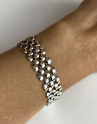 14k Italy White Gold Women's Watch Link Bracelet 12.5 Mm 7 Inches 18.4g
