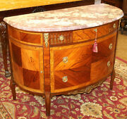 Stunning French Inlaid Rosewood Marble Top Chest Server Commode Circa 1920and039s