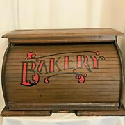 Vintage Wooden Roll Top Bread Bakery Box Big Storage Rustic Charm Red Stenciled