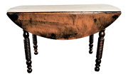 19th Century French Country Rustic Drop Leaf Table Turned Legs