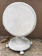 Tilt-top Wicker Table 28x29 Victorian Antique Rolled Edge Patio / Sunroom