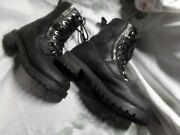 Motorcycle Boots Black Leather Womens Size 8 Authentic Quality Milwaukee