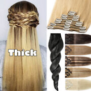 Thick 170g Clip In 100 Remy Human Hair Double Weft Full Head Extensions Blondes