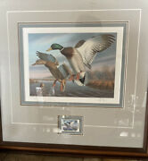1988 First Of State Virginia Limited Edition Print And Stamp Framed Ronald Louque