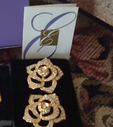 Vtg. Avon Elizabeth Taylor Paveand039 Crystal Rose Earrings Matches The Pinnewrare