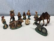 Vintage 10 Pcs.paper Mache Composition Nativity Set Camel Donkey Made In Italy