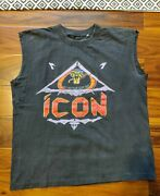Vintage 1989 Icon Right Between The Eyes Tour Cutoff T-shirt Rare Size Large