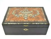 Beautiful Burled Wood And Mother Of Pearl Inlay Antique Writing Desk Box