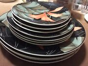 Artistica 367034 Tropical Flowers Oval Dinner Salad And Saucer Set Of 11 Pc
