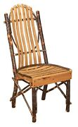 Amish Set 4 Rustic Hickory Dining Side Chair Bent Wood Slat Cabin Lodge