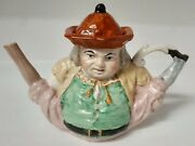 Antique Spread Legged Old Englishman Teapot. Palissy Toby Magnificent And Rare