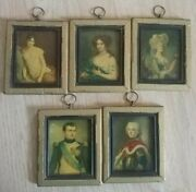 Antique French Lady Man Miniature Framed Portrait Regal Picture Art Germany