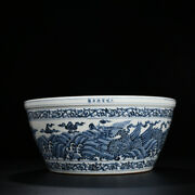 14.9 Old China Porcelain Xuande Blue White Hand Painting Dragon Cloud Jar Pot