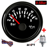 52mm Waterproof Boat Car Oil Pressure Meter Gauge 0-5bar With Sensor Waterproof