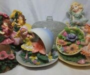 Ceramic Fairies Figurine Lot Of 2 Tealight Holders, 1 Flower Cup And Glass Dish