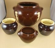 Vintage Campbell's Soup Bean Pot And Three Small Bean Cups - Great Color